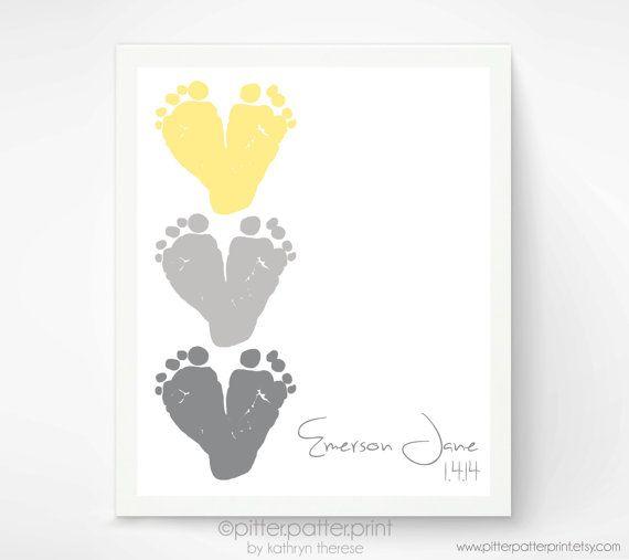 Yellow & Gray Nursery Decor - Baby Footprint Hearts - Baby Wall Art - Childrens Art - Personalized Kids Wall Art - Playroom Art