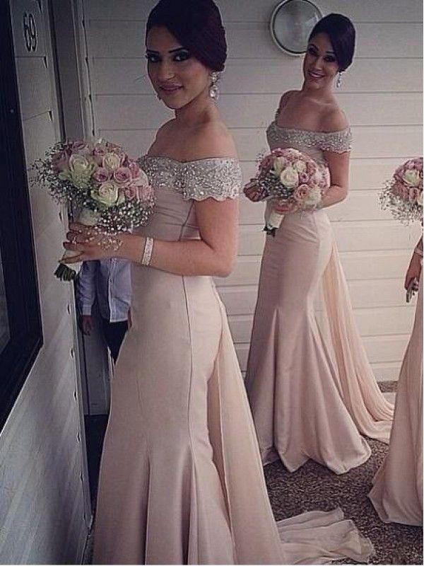 BEADED SEQUINS OFF THE SHOULDER MERMAID SATIN FLOOR LENGTH BRIDESMAID DRESS WITH TIER