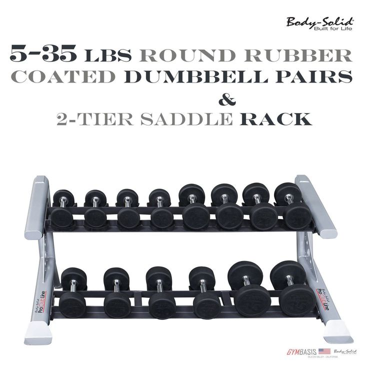 5-35 lbs NEW Body-Solid SDP Round Rubber Dumbbell Pairs and 2-Tier Rack SDKR500