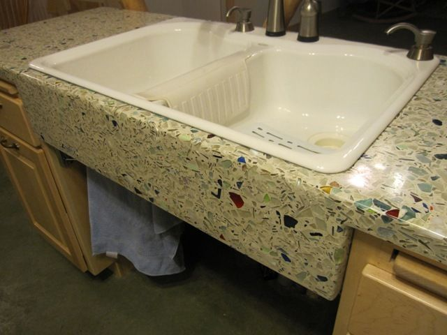 Crush glass counter top...step by step