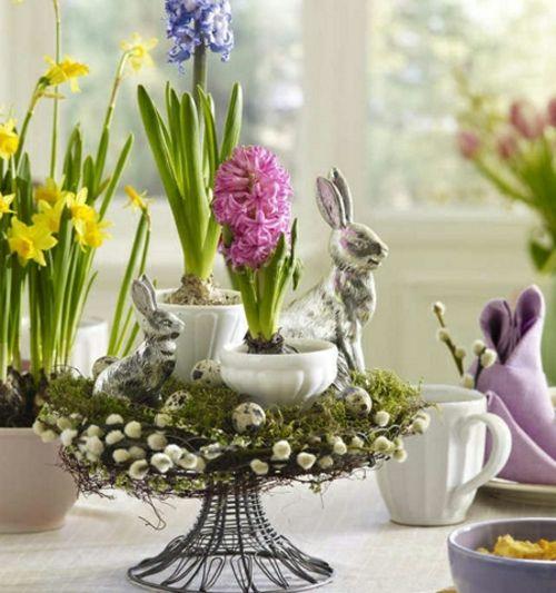 Ostern 2014 frühlingsblumen osterhasen keramisch