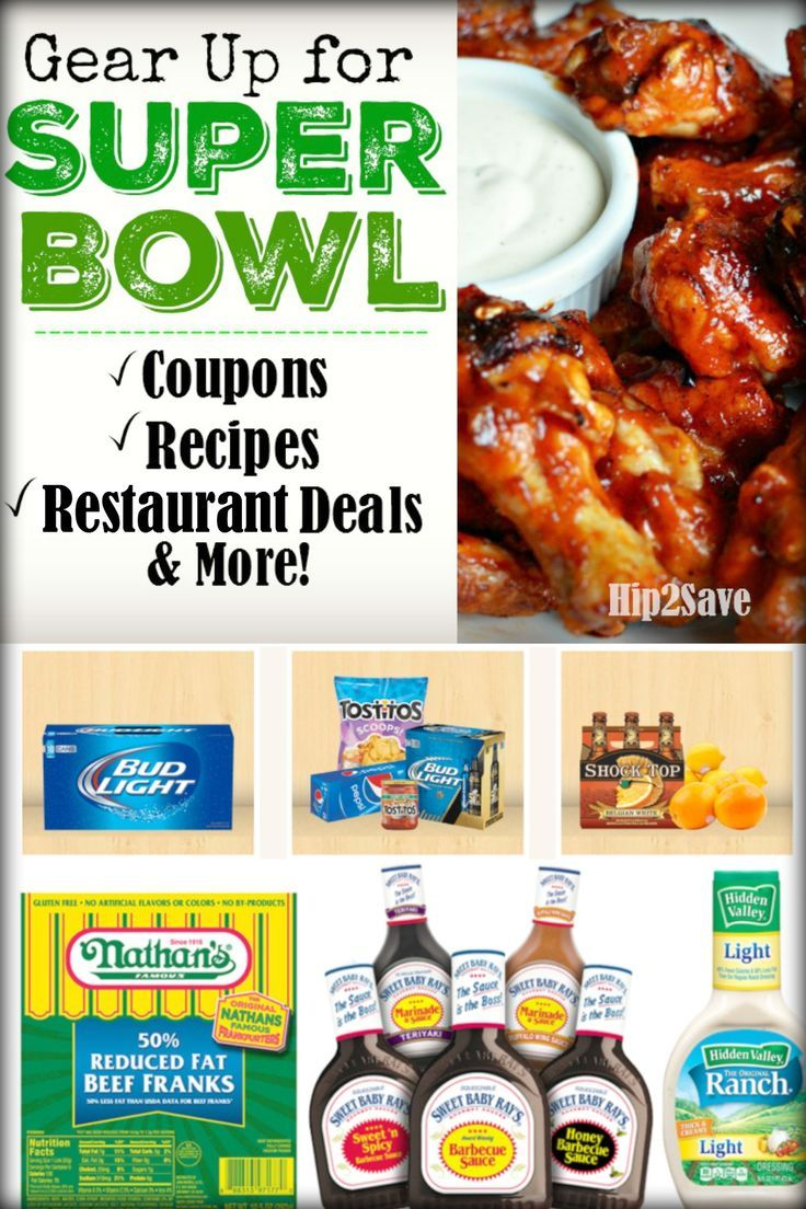 Gear Up for the Super Bowl (With the Best Coupons, Recipes, Restaurant Deals & More!) Make this a memorable Super Bowl Sunday with your family and friends. For more ways to save and great recipes visit Hip2Save.com