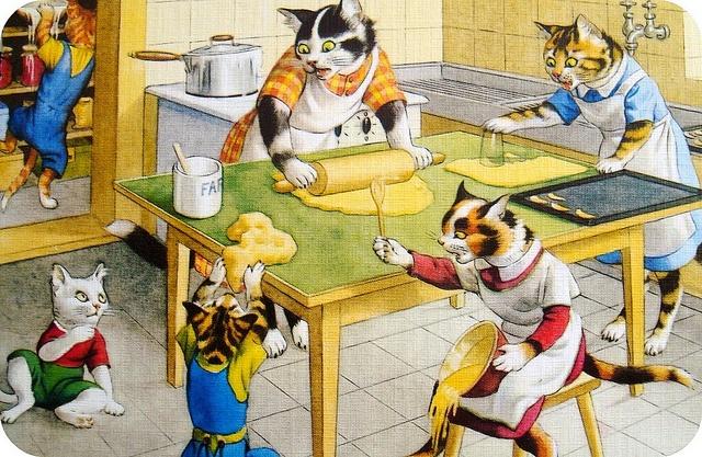 vintage kittens baking!: Artists Eugen, Vintage Postcards, Cats Artworks, Cats Baking, Art Alfred Mainzer Cats, Cats Families, Baking Cats, 1960S Artists, Dresses Cats