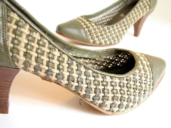 1980s Olive Green Woven Spectator Nickels Pumps by bytheway, $30.00