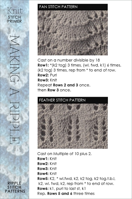 Ripple, Feather and Fan, Old Shale - whatever name you go by, the stitch variations and use in new design ideas are exciting | more stitch patterns and free patterns