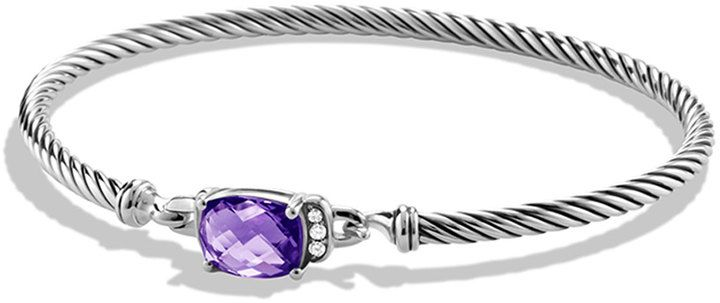 David Yurman Petite Wheaton Bracelet with Amethyst