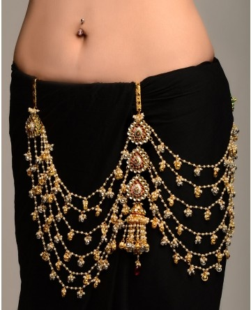 Multi-strand Pearl Sari Belt with Jhumki Pendant