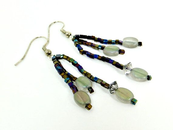 Gray Glass & AB Black Seed Bead Dangle Earrings by BeadsGalore2, $12.50
