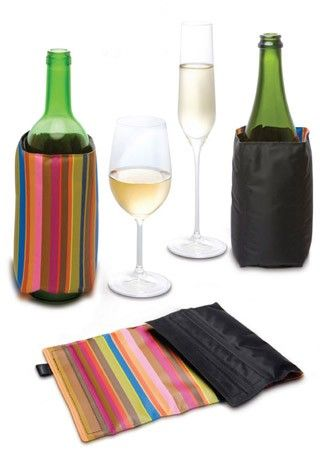 Pulltex Cooler - Stripe/Black — Giftwerks The wine cooler keeps wine and champagne at the ideal temperature during the meal. Store at the freezer to be ready when needed. The cooler is reversable and fits both champagne and wine bottles with adjustable velcro.