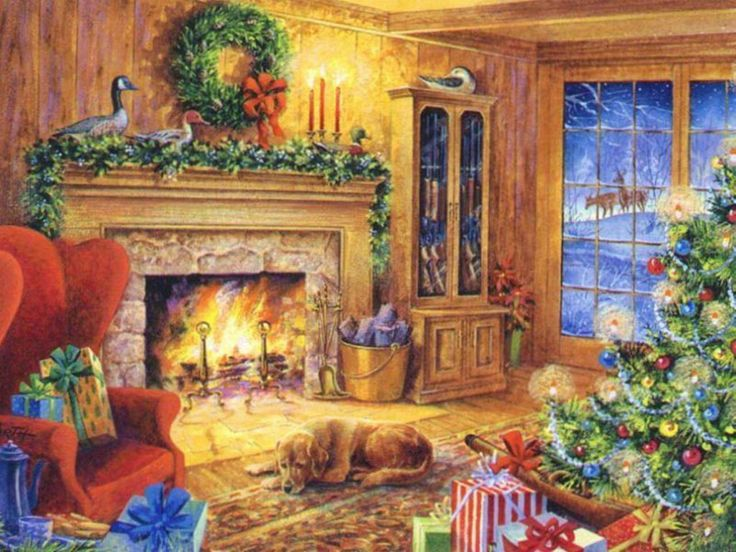 108 best Christmas Illustrated-Fireplaces images on Pinterest ...