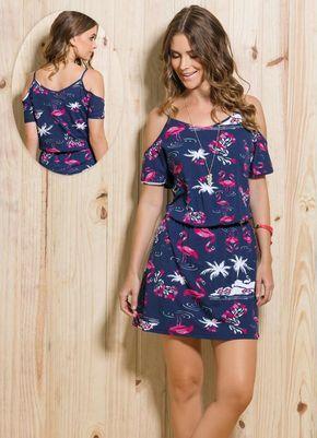 Vestido Ombro Vazado Print Flamingos - Quintess