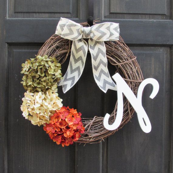 Monogram Wreath Front Door Wreath with by NewEnglandHomeAccent