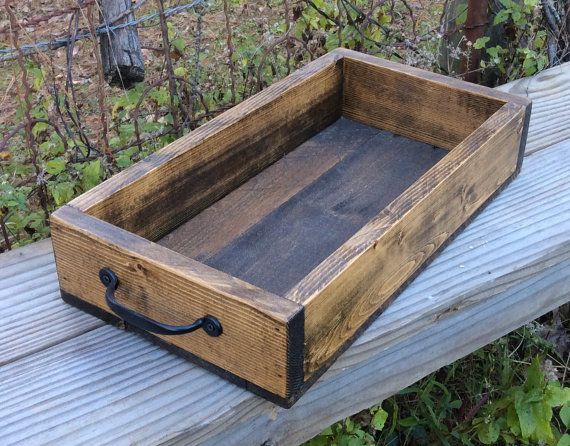 Wooden Crate Serving Tray Decorative Tray by PandKDesignCo on Etsy