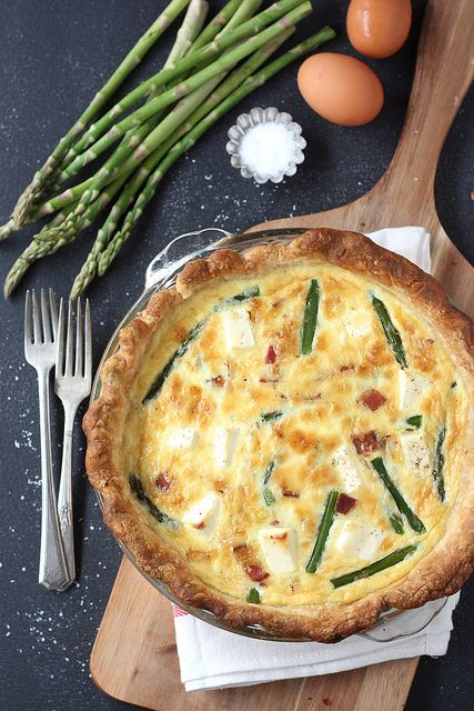 Asparagus and Bacon Quiche with Cream Cheese