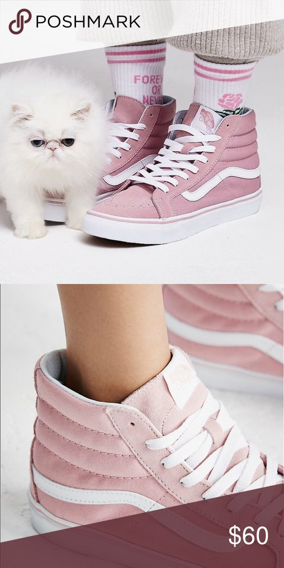 Pastel Pink Vans Sk8-Hi Slim High Top Sneaker Super sporty and classic Vans Sk-8 sneaks featured in a high-top silhouette. Suede and canvas upper and lace-up detailing. Sturdy rubber sole for ultra-comfortable wear. New from Free People.    *By Vans *Size: Womens 9.5  *Canvas *Suede *Rubber *Lining: Synthetic Leather, Canvas *Import Vans Shoes Sneakers