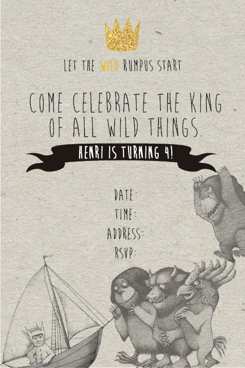 Where the wild things are themed birthday invitation and printables package on Etsy, $22.70 AUD