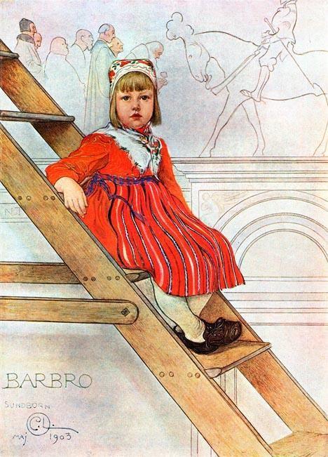 Barbro, aquarelle de Carl Larsson (1853-1919, Sweden)