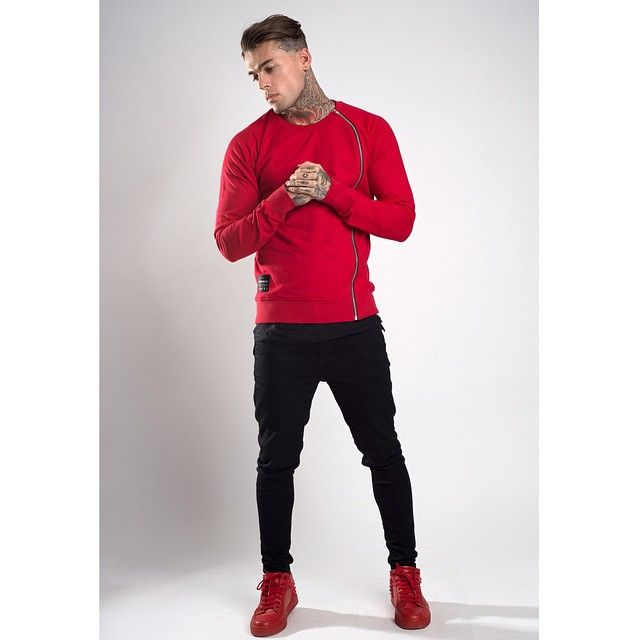 Men Fashion Red Sweater Jumper Silver Side Long Zip Black Jeans Sneakers High Top Tops Trainers ...