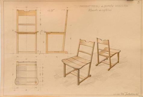 Krzesło do czytelni, meble dla Domu Kultury. Autor: Jastrzębowski, Wojciech, Data: 1951, Muzeum Akademii Sztuk Pięknych