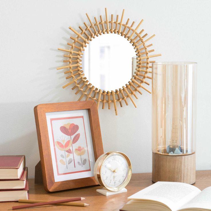 Espejo redondo sol bambú ratan mimbre