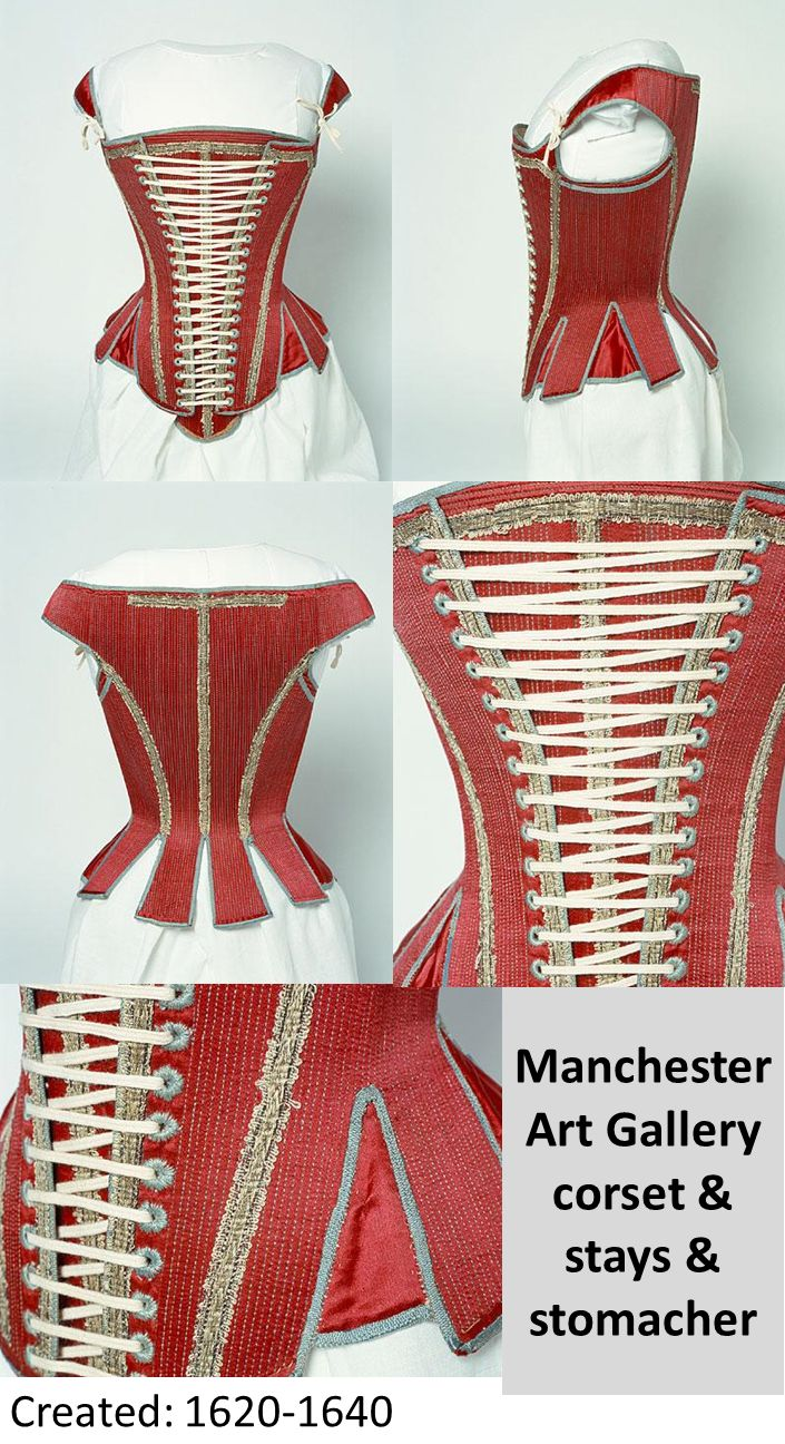 1620 - 1640 corset & stays & stomacher. Red satin over linen twill, edged with pale blue silk ribbon.