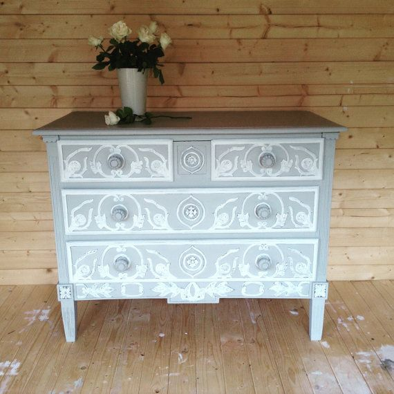 SOLD VINTAGE FRENCH Painted Chest Of by NickyTurnerCreations