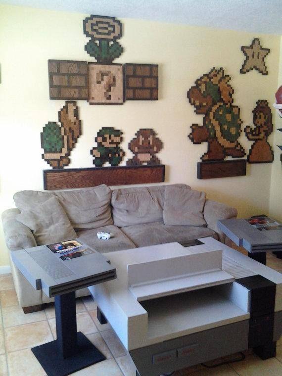nintendo living room theme diy geek my love for geeky nerdy pinterest living room. Black Bedroom Furniture Sets. Home Design Ideas