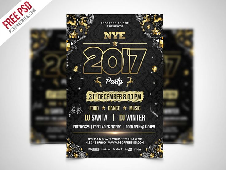 Download New Year Party Flyer PSD Template. This Elegant and luxury template is designed to promote your next new years eve party and club events. This New Year Party Flyer PSD Template is designed to create for any club, bar, lounge, festival, party, concert, event or other advertising purposes. New Year Party Flyer PSD Template is print ready free flyer template includes a A4 Size, 300 dpi, print ready, CMYK PSD file. All main elements are editable and customizable.