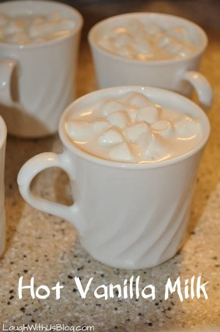 Hot Vanilla Milk  This is a gem of a drink. And so easy! 1 cup milk, 1 1/2 tsp. vanilla, 1 tbsp. sugar. Warm milk in the microwave or on the stove. Add vanilla and sugar. (I added some brown sugar in as well) Optional: top with whipped cream, cinnamon, chocolate sauce, or marshmallows.  Credit: http://www.laughwithusblog.com/how-to-make-vanilla-milk/