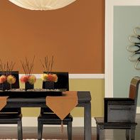 Orange dining room interior paint from Benjamin Moore