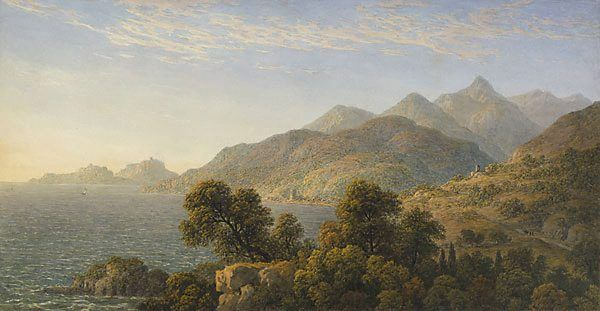 john glover - the italian coast near naples (1828), pencil, watercolour, gum on ivory wove paper.