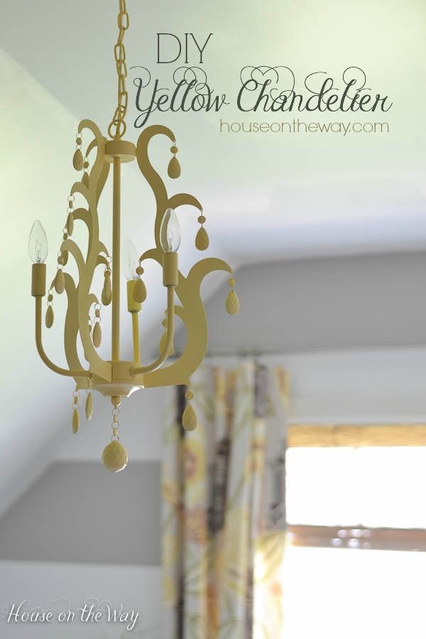 DIY Yellow Chandelier from houseontheway.com