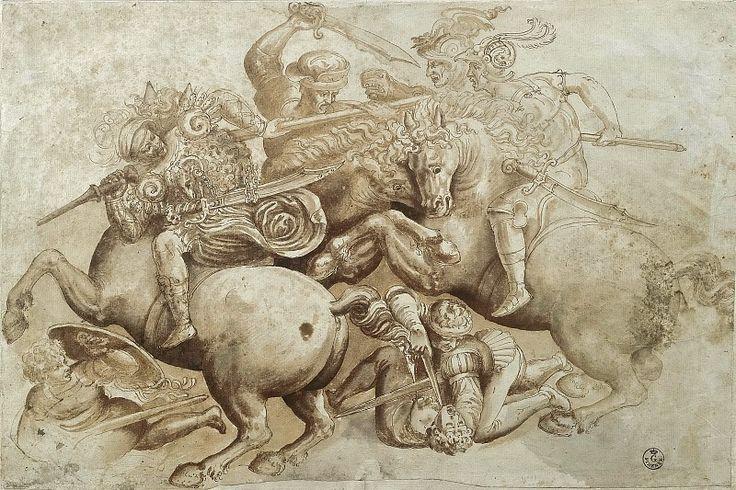 Битва при Ангиари (фрагмент) (Школа да Винчи по одноименной фреске). Леонардо да Винчи
