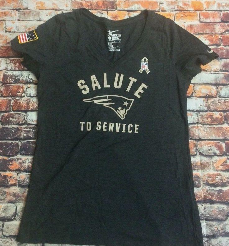 Nike Women's Size L Gray V-Neck Salute To Service Patriots Short Sleeve Shirt #Nike #NewEnglandPatriots