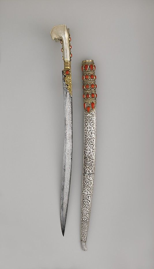 SWORD (YATAGAN) WITH SCABBARD, 18th century. Turkish. The Metropolitan Museum of Art, New York. The Collection of Giovanni P. Morosini, presented by his daughter, Giulia, 1932 (32.75.261a, b) #sword