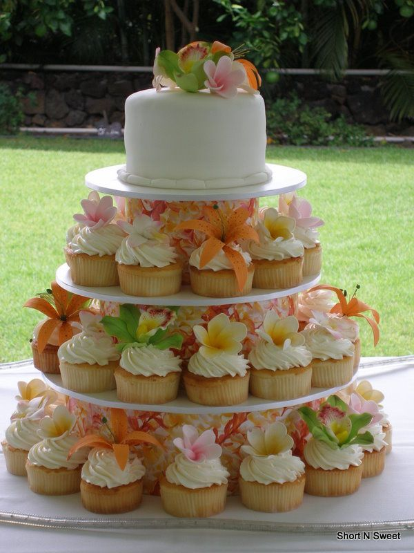 Sugar Tropical Flowers Cupcake Tower Short N Sweet