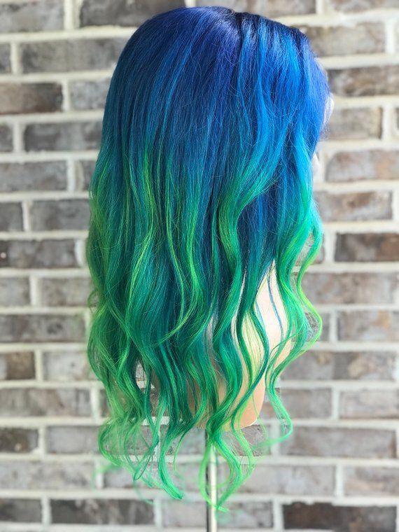 Full Lace Womens Wig Navy Blue Light Blue Green Hair Human