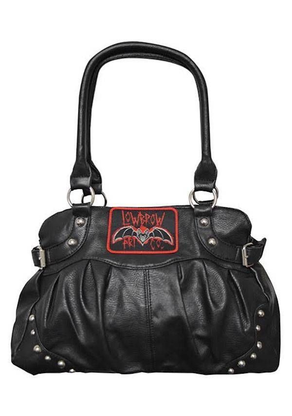 Black Purse Bat by Ian McNiel Faux Leather Handbag Satchel Lowbrow Art Company