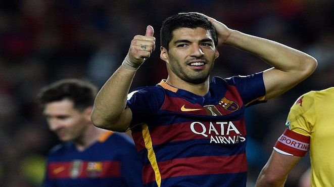 Thumbs-up to Luis Suarez who has scored eight of Barcelona's 14 goals and is now the leading scorer in La Liga with 34, three ahead of Cristiano Ronaldo. Barcelona remain top of the table equal with Atletico Madrid on 82 points, but with a goal difference of +73; Real Madrid is closing-in, one point behind and with a goal difference of +72. 24.04.16
