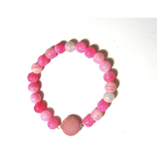 Frosted Agate Stretch Bracelet Sterling Silver Druzy Agate Semiprecious Stones Gemstones Handmade Greek Jewelry Gift For Her (€21) found on Polyvore featuring women's fashion, jewelry, bracelets, sterling silver gemstone jewelry, pink jewelry, agate jewelry, gem jewelry and beaded bangles