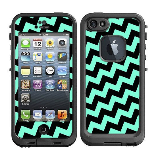 newest 073e4 5dcc6 Skins FOR Lifeproof iPhone 5 Case - Tilted Chevron Teal blue / green ...