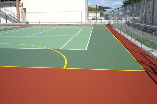 sports flooring outdoor By incorporating a resilient recycled rubber base mat, floor can be supplied in various thicknesses and be optimized for just about any outdoor sports requirement. The top surface is made of a high durable, colored synthetic EPDM rubber ensuring optimum playability.