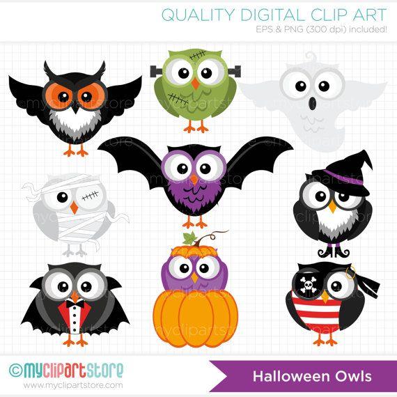 Clipart Halloween Owls Digital Clip Art by MyClipArtStore