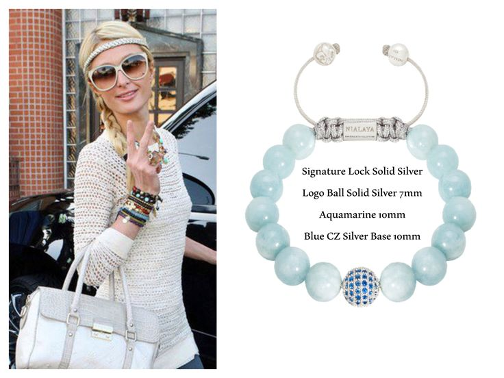 Paris Hilton wearing a NIALAYA Signature Lock 925 Solid Silver Logo Ball 925 Solid Silver 7 mm Aquamarine 10 mm Blue CZ Silver Base 10 mm £188