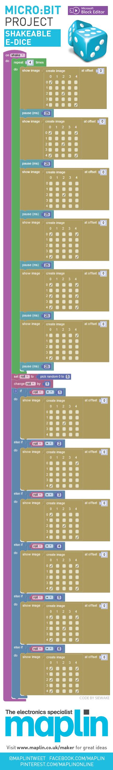 Shakeable digital dice program for Micro:Bit using Microsoft's Block Editor #bbc #makeitdigital #maplin #coding #dice #fun #games #programming #code #ict #computerscience #microbit #micro #bit #blockprogramming #juniorscience #computers #computing #program