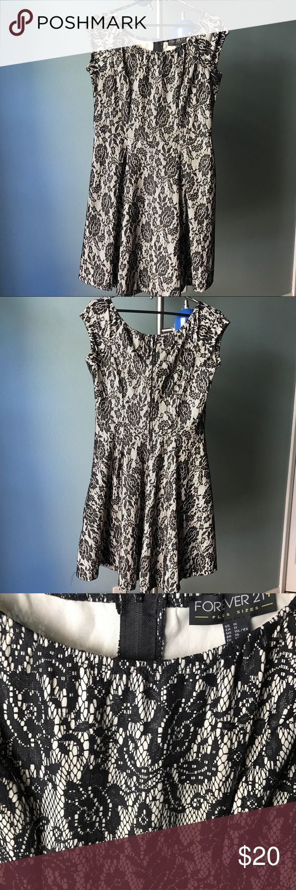 Black & cream lace skater party dress Forever 21 Scoop neck lace black and cream party dress. Back zip. Worn only once. Machine washable and Unlined. Skater style in plus size 1X. Delicate lace floral pattern. Fabric is polyester and has a little bit of stretch. Waist darts so it looks more fitted at waistline. Forever 21 Dresses Midi