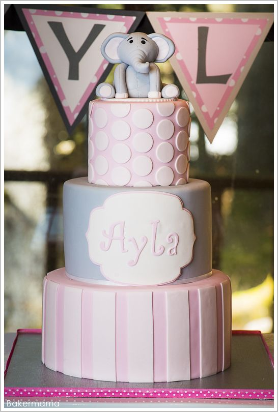 adorable 1st birthday party!  | Elephant Birthday Cake by Bakermama