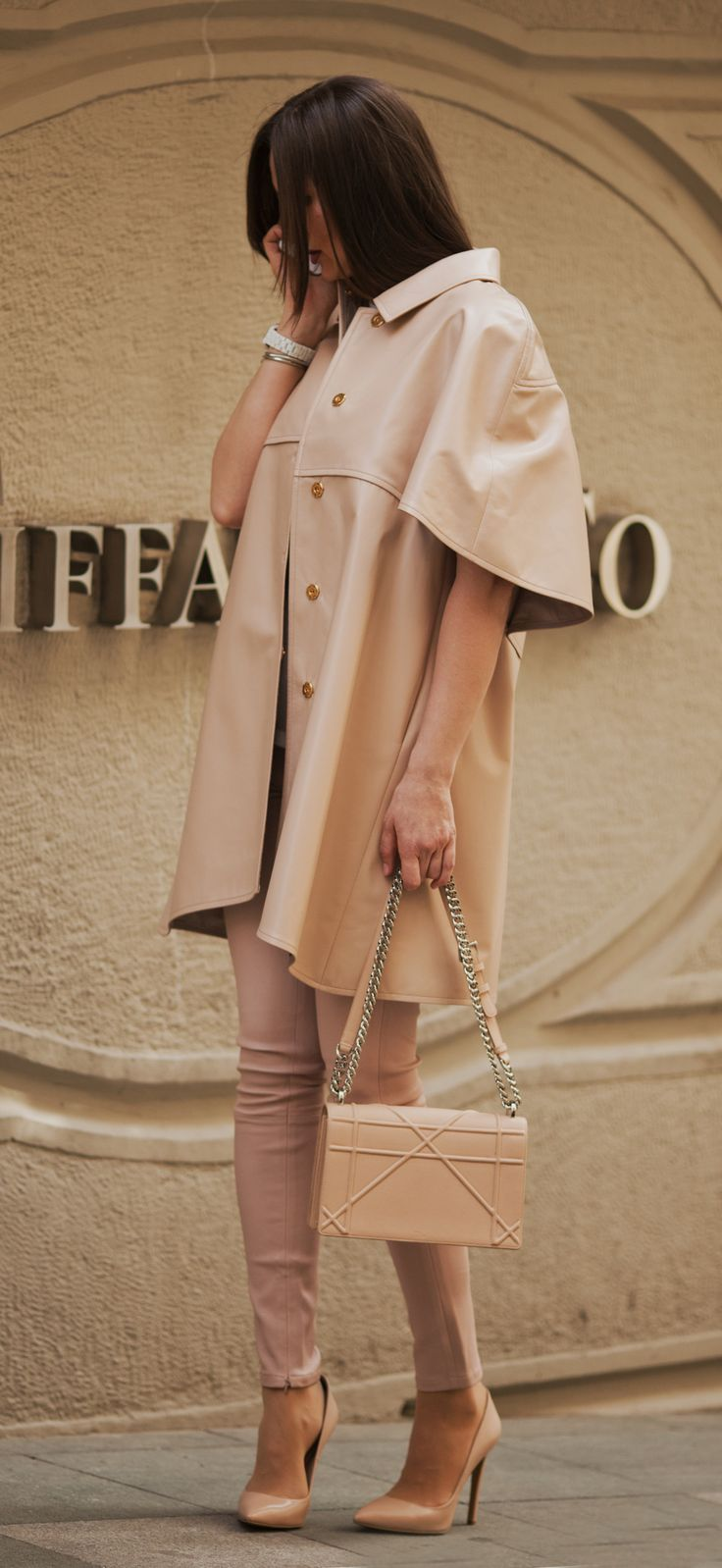 Beige leather trench-coat and leather leggins by ADAMOFUR #style #streetstyle #inspiration #fur