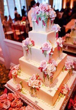 21 trendige Hochzeitstorten Einfache quadratische rosa Rosen – #einfache # Hochzeitstorten #q …   – Pink Birthday Cake Ideen