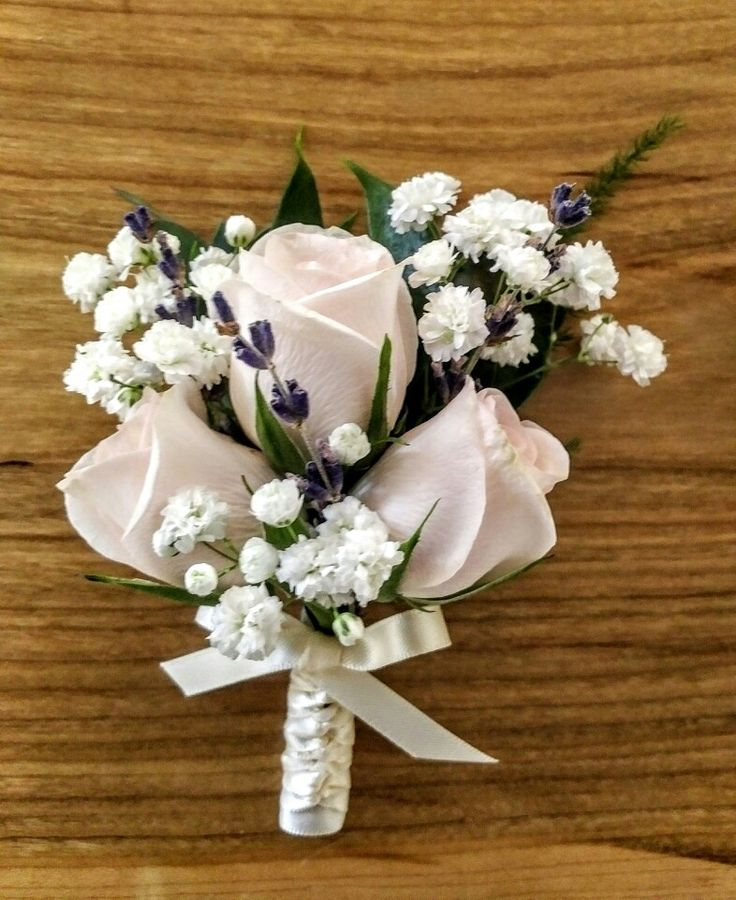 Elegant, soft, simple pin corsage for special ladies of the wedding party.  Spray roses, lavender, baby's breath, fern...
